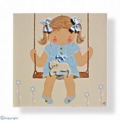 Cuadro infantil personalizado: Niña en un columpio (ref. 12056-04)