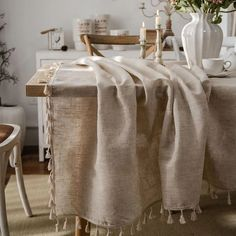 Natural Linen Tablecloth – Homeplistic Mesa Retro, Linen Tablecloth, Table Linens, Dining Table Cloth, Tablecloth Ideas, Dining Room, Cheap Tablecloths, Retro Table, Beautiful Textures