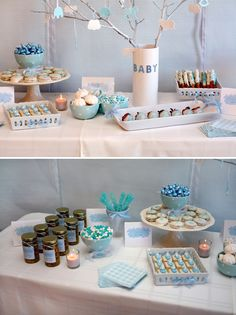Blue & White Gingham Dessert Table - so many cute ideas - centerpiece, desserts - simple but cute