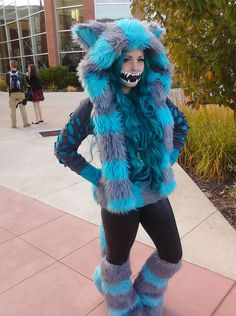 Anime Banzai 2012 Cheshire Cat by moonlitsilverwolf on DeviantArt - Pantomime Kostüm Cheshire Cat Cosplay, Cheshire Cat Halloween, Cat Halloween Makeup, Alice Cosplay, Cosplay Diy, Cosplay Outfits, Cat Makeup, Themed Halloween Costumes, Cat Costumes