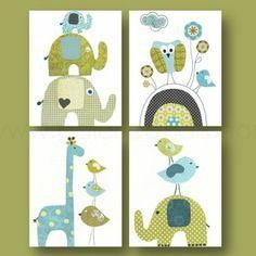 Lot de 4 illustrations 18x24 cm pour chambre d\'enfant et bebe ...