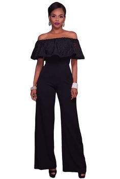 2017 New Women Sexy Jumpsuit Solid Slash Neck Off The Shoulder Lace Ruffle Party Fit And Flare Long Wide Straight Pants Rompers Bodycon Jumpsuit, Playsuit Romper, Black Jumpsuit, Strapless Jumpsuit, Rompers Women, Jumpsuits For Women, Fashion Jumpsuits, Lace Ruffle, Ruffle Top