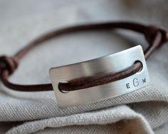 Items similar to Large Monogram Slipknot Bracelet - Leather - Personalize on Etsy Bracelets Wrap En Cuir, Bracelet Cuir, Bracelets For Men, Leather Jewelry, Metal Jewelry, Diy Leather Gifts, Bracelet Quotes, Monogram Bracelet, Engraved Necklace
