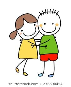 girl and boy holding their hands Cute Cartoon Drawings, Art Drawings For Kids, Drawing For Kids, Easy Drawings, Art For Kids, Sharpie Zeichnungen, Cartoon Template, Sharpie Drawings, Stick Figure Drawing