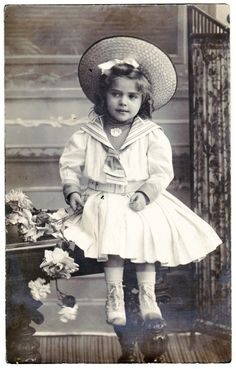 Cute Little Girl Child in Marin Fashion Straw Hat Roses Private Photo Posted | eBay