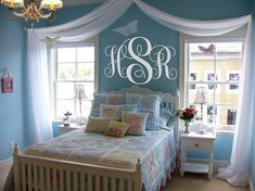 Decorative Monogram Initials Vinyl Decal and Sheer Bed Covering