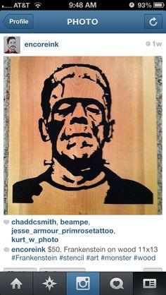 Stencil on wood, Frankenstein on 11 x 13 pine. Wall art