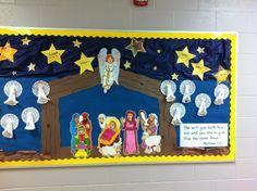 Nativity bulletin board kindergarten.