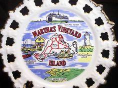 Martha's Vineyard Island Souvenir Porcelain Collector Plate Gold Trim Open Edge  $4.99