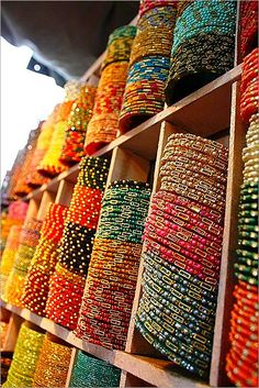 Rows and rows of colorful handmade bangles from India!