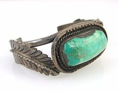 Large-Old-Pawn-Navajo-Handmade-Sterling-Silver-amp-Turquoise-Cuff-Bracelet-RS-AX