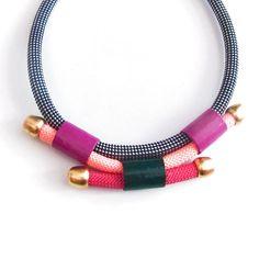 Statement multicolored rope necklace par meetthecat sur Etsy
