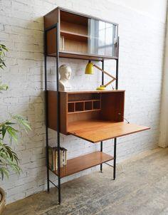 Vintage Retro 60s 70s Mid Century Avalon Teak Bureau Desk Bookcase Shelving  Unit