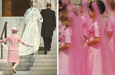 Luci Baines Johnson's wedding looked like an old royal court event complete with a Watteau train and bridesmaids in long colorful veils.