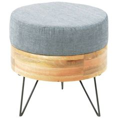 Moe's Home Collection Pouf Round Blue By (320 AUD) ❤ liked on Polyvore featuring home, furniture, ottomans, square upholstered ottoman, round fabric ottoman, round ottoman, square ottoman and upholstered footstool