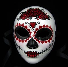 True Love Ways female mask with headdress Day of the Dead/Dia de los Muertos/Halloween/Mardi Gras/Wedding Halloween Ideas Halloween Masquerade, Masquerade Costumes, Painted Paper, Hand Painted, Painted Porcelain, China Porcelain, Porcelain Ceramics, Day Of The Dead Mask, Mexican Mask