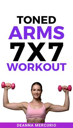 This 7 exercises and 7 repetitions HIIT (high intensity interval training) workout is the perfect combination of upper body strength training and HIIT exercises you can do at home. Are you ready to tone your arms and get rid of jiggly arms? Don't miss these 7 Best Exercises for Toned Arms At Home. These arm exercises for women will help you tone and get fit. You can do it! #armworkout #armsworkout #workouts #strengthtraining #workoutsforwomen