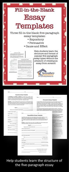 Three templates to help your struggling writers understand the layout and format of essay writing. Works best for those students who are really struggling with writing and need some assistance to see and work through the structure of the five-paragraph essay. Students are given an essay with missing words and are asked to complete the essay based upon their knowledge of how an essay works.