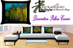 Lyric -Modern Abstract Canvas Handpainting Pillow Covers | FonduLifeStyle - Furnishings on ArtFire