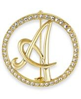 Charter Club Gold-Tone Crystal Initial Pin