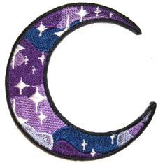 Galaxy Crescent Moon Iron On Patch Embroidery Sewing DIY Customise... ($3.85) ❤ liked on Polyvore featuring home, home improvement, cleaning, extras and filler