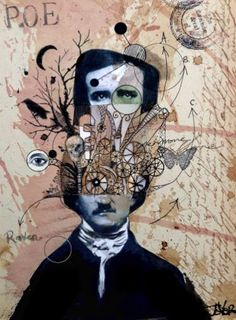 """Saatchi Art Artist Loui Jover; Collage, """"poe with exaggerated thought"""" #art"""