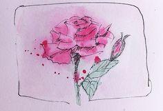 Rose m. Tusche 1.