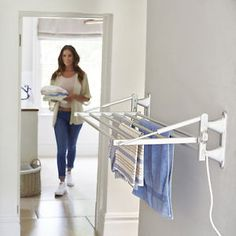 Lakeland Wall Mounted Heated Indoor Laundry Towel & Clothes Airer