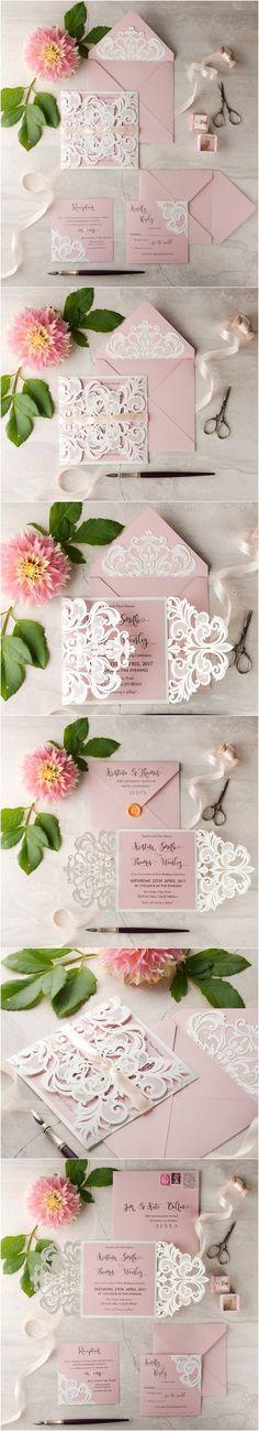 White & Pink Elegant Romantic Wedding invitation - laser cut lace and wax sealed envelope #weddinginvitations #romantic #weddingideas