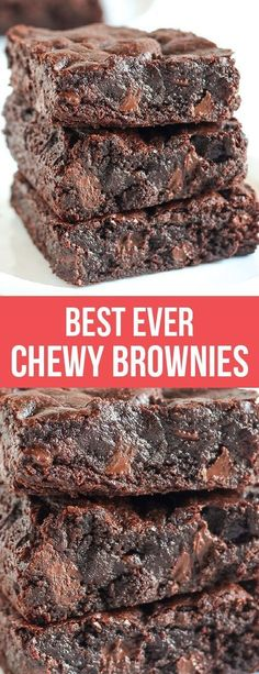 The BEST Chewy Brownies are just as chewy as the boxed brownies but packed with way more chocolate flavor. One bowl recipe made in less than 1 hour! #brownies #chocolate #dessert #dessertrecipes #chocolatelovers #browniesrecipe #recipe