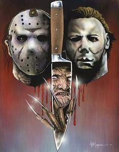 The horror trinity Slasher Movies, Horror Movie Characters, Theme Halloween, Halloween Horror, Michael Myers, Arte Horror, Horror Art, Horror Scream, Chucky