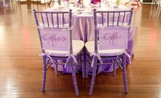 Highlight the bride and grooms chairs in theme colour...great idea