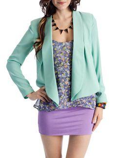 love this blazer with the purple shirt/skirt