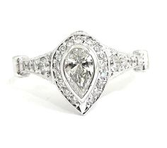 PEAR AND ROUND DIAMOND ENGAGEMENT RING ART DECO 1.25CTW