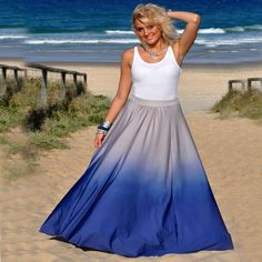 Big Size Women Long Skirt 2017 New Style Fashion Gradient Color Elastic Waist Pleated Skirts Women Bottoms Maxi Skirts S~XL