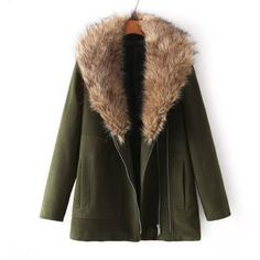 Faux-Fur-Collar Zip Coat ($42) ❤ liked on Polyvore featuring outerwear, coats, jackets, casaco, abrigos, zipper coat, faux fur collar coat, zip coat, green coat and jvl