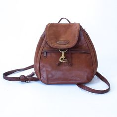 vintage leather LL Bean mini backpack / light brown