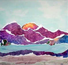 Love the idea of watercolor + ripped pages as a kid's art project Watercolor collage Artsonia Art Museum :: Artwork by Collage Landscape, Watercolor Landscape, Landscape Paintings, Watercolor Art, Figurative Kunst, 6th Grade Art, Ecole Art, Mountain Art, Mountain Landscape