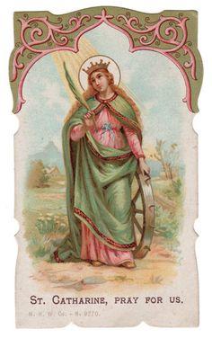 1914 St Catherine Vintage Die Cut Holy Card M H w Co