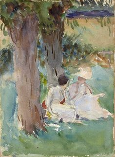 """""""Under The Willows - """"John Singer Sargent 1888 Impressionism Graphite and watercolour on paper """" """""""