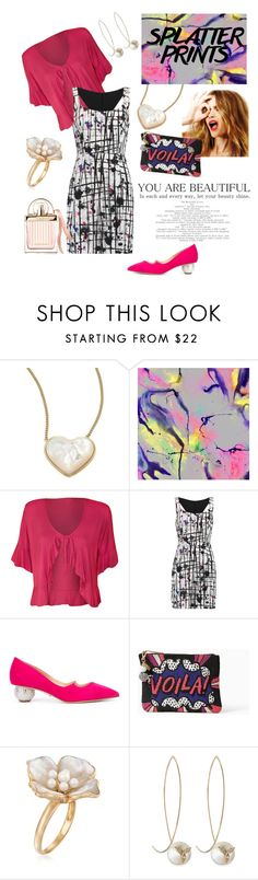 """""""Girly Splatter Print"""" by dayna-marie ❤ liked on Polyvore featuring Tory Burch, WALL, Celestine, WearAll, Milly, Paul Andrew, Kate Spade, Ross-Simons, mizuki and Chloé"""