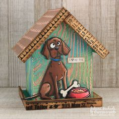 Mixed Media Dog House by Juliana Michaels featuring Therm O Web Deco Foil
