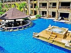 East Wing Pool Bar at 5 star hotel: Boracay Regency Beach Resort & Spa. This hotel's address is: Beachfront Station 2 Boracay Island and have 302 rooms Great Places, Places To Go, Travel Tips, Travel Destinations, Boracay Island, Built In Bar, Pool Bar, Philippines Travel, Convention Centre
