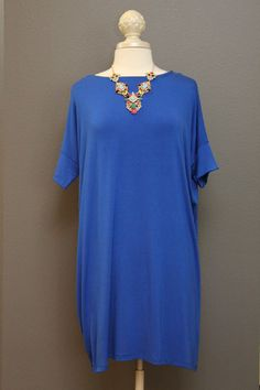 Go To Dress – The Dressing Vroom Easy dress to throw on and walk out the door! Cobalt blue; dolman style dress