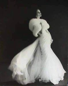 """Vintage 1950 Wedding Gown with Fox Fur Wrap, adore the drape and romance of the silk chiffon against the luxurious fur."" - Alotta. Imagine slowly taking off each swirly layer of chiffon"