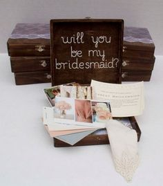 17 fun ways to ask your maids - I love the rustic box idea. Gifts For Wedding Party, Wedding Wishes, Wedding Favors, Our Wedding, Dream Wedding, Wedding Blog, Wedding Ideas, Wedding Souvenir, Party Gifts