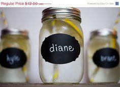 SALE 24 Mason Jar Wedding Chalkboard Labels by CharlieChalkDesigns, $10.80