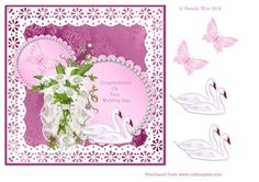 Wedding Day with swans and butterflies topper on Craftsuprint - Add To Basket!