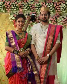 Indian Wedding Couple Photography, Indian Wedding Photos, Indian Bridal Outfits, Photography Couples, Bridal Poses, Bridal Photoshoot, Marathi Wedding, Marathi Bride, India Wedding