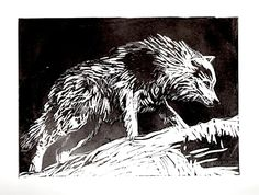 Image result for linocut wolf
